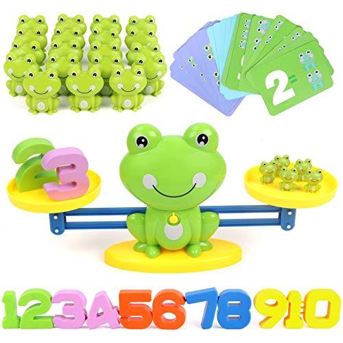 GILOBABY Montessori Mathe Waage Spielzeug,Zählen und Rechnen Lernspielzeug mit Waage und Zubehör,Cartoon...