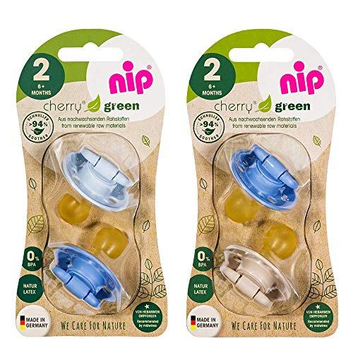 NIP Cherry Green Rundsauger Schnuller 4 Stück Boy Set // Gr.2 // 6+ Monate // Blau & Türkis + Silber &...