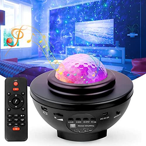Swonuk LED Sternenhimmel Projektor Lampe Ozeanwellen Sternenlicht Projektor mit Bluetooth Musikspieler/...