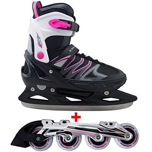 Cox Swain 2 in 1 Kinder Skates-/Schlittschuh -Joy- LED Leuchtrollen, ABEC 7 Carbon Lager, Colour: Black Pink,...