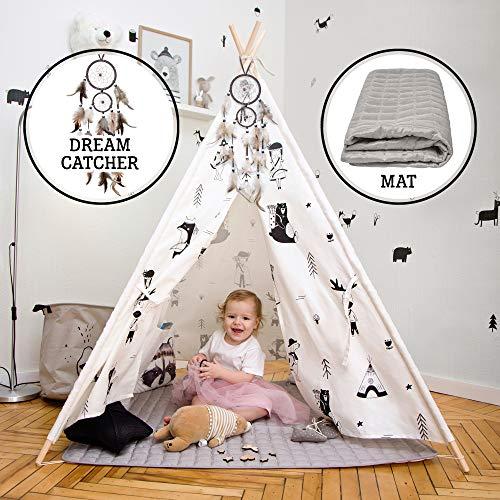 Hakuna Matte Tipi Zelt für Kinder – Stilvolles Spielzelt im skandinavischen Design mit Spielmatte,...