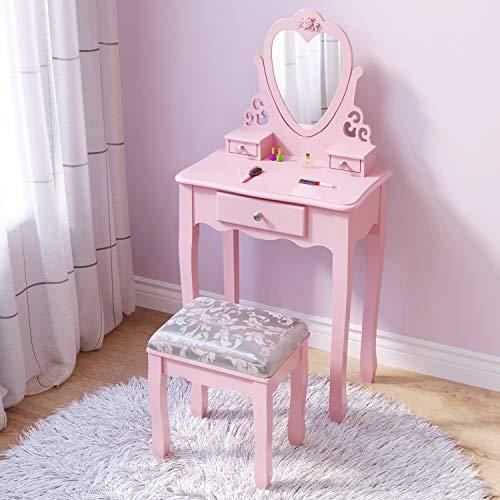 J jeffordoutlet rosa Schminktisch für Mädchen, kleiner Schminktisch für 3, 4, 5, 6, 7, 8 Jahre alte Kinder,...