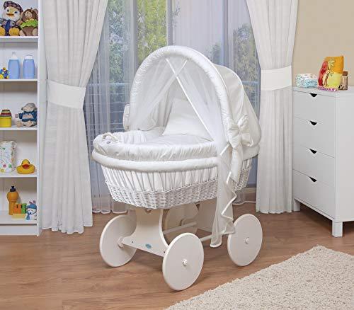 WALDIN Baby Stubenwagen-Set mit Ausstattung,XXL,Bollerwagen,komplett,44 Modelle wählbar,Gestell/Räder weiß...