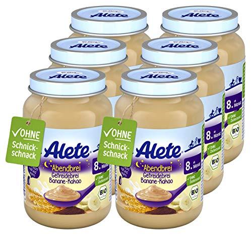 Alete Bio-Gläschen Abendbrei Getreidebrei Banane-Kakao, Babynahrung in Bio-Qualität, ohne Palmöl &...