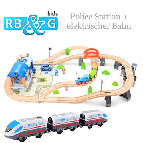 RB&G Holz-Eisenbahn /-Autobahn kombinierbar als Set / bis zu 203 Teile (Police Station elektrische Bahn)
