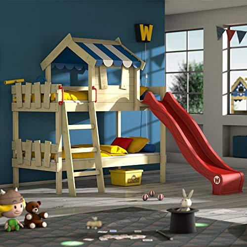 WICKEY Etagenbett CrAzY Circus Kinderbett Hochbett mit Rutsche, Dach und Lattenboden, blaue Plane + rote...