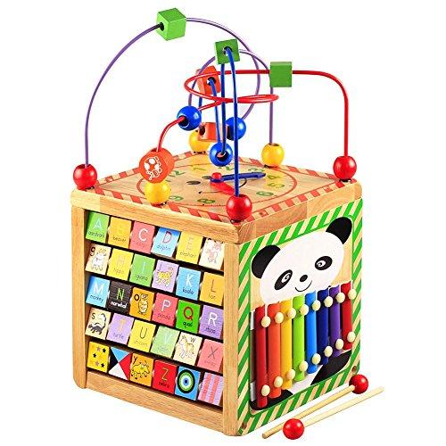 Lewo Motorikspielzeug Baby Kleinkindspielzeug Aktivitätszentrum buntes Holz Spielcenter Lernspielzeug für...