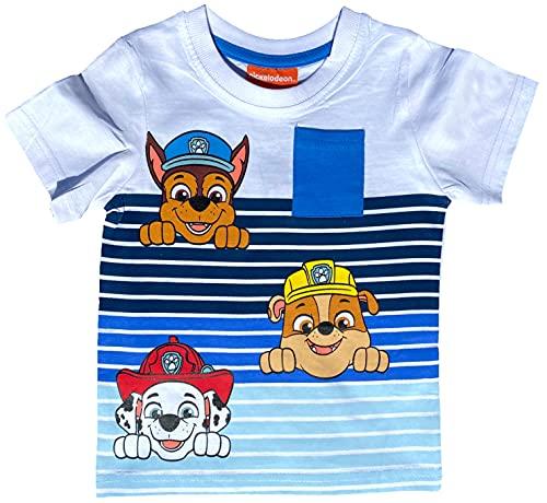 Coole-Fun-T-Shirts Jungen Sommer T-Shirt Streifen Jungsshirt kompatibel zu Paw Patrol Oberteil für Kinder 2 3...