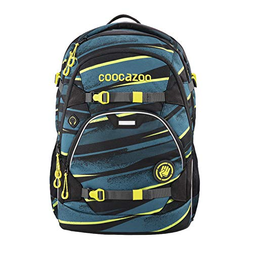 coocazoo Schulrucksack ScaleRale Wild Stripe blau-gelb-schwarz, ergonomischer Tornister, höhenverstellbar mit...