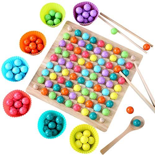 LOVOICE Montessori Spielzeug aus Holz Lernspiele, Brettspiele, Clips, Kinder, Spielzeug, Perlen, Puzzle,...