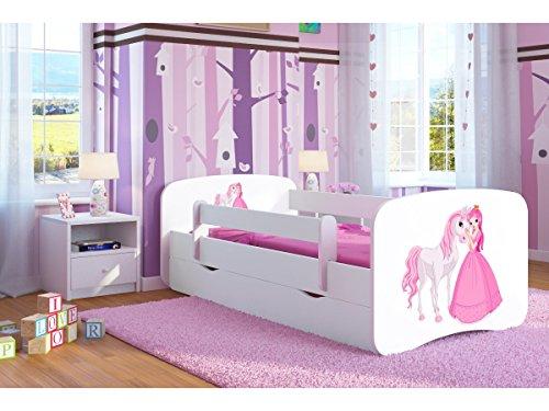 Kocot Kids Kinderbett Jugendbett 70x140 80x160 80x180 Weiß mit Rausfallschutz Schublade und Lattenrost...