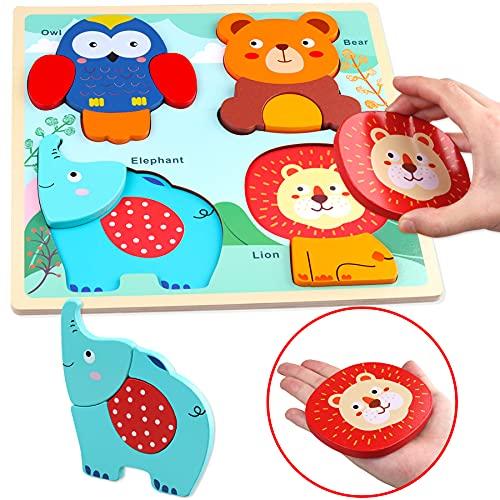 Sunarrive Holzpuzzle mit großen Teilen - Holz Steckpuzzle - Holzspielzeug Puzzle - Montessori Spielzeug -...