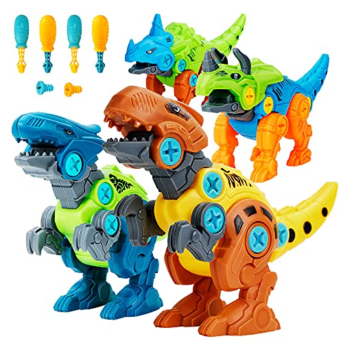 Lekebaby Dinosaurier Montage Spielzeug, 4 Stück DIY Dinosaurier Spielzeug mit Werkzeugen, Dinosaurier...