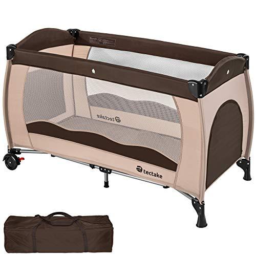 TecTake Kinderreisebett mit Schlafunterlage und praktischer Transporttasche - diverse Farben - (Coffee | Nr....