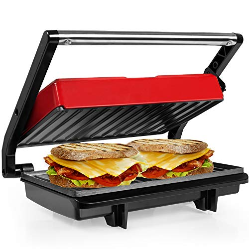 Gotoll Kontaktgrill mini, Sandwichtoaster,Panini Grill, Panini Sandwich Maker, Elektrogrill Multifunktion,...