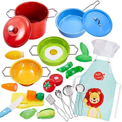 Buyger Kinderküche Spielküche Zubehör Kochgeschirr Spielzeug Edelstahl Töpfe Pfannenset Küchenspielzeug...