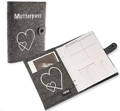 Mutterpasshülle mit Verschluss für deutschen Mutterpass, mit Tasche für Ultraschallbilder/Impfpass,...