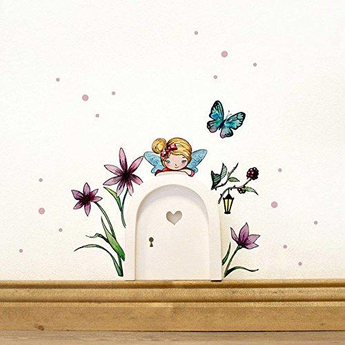 Elfentür mit Wandtattoo kleine Elfe Fee mit Blumen Schmetterling und Punkte e08 *weiß*