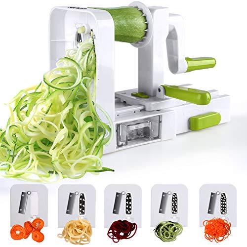 Sedhoom Spiralschneider Mit 5 Klingen, Falterbar Gemüse Spaghetti /Zucchini /Kartoffel Schneider,...