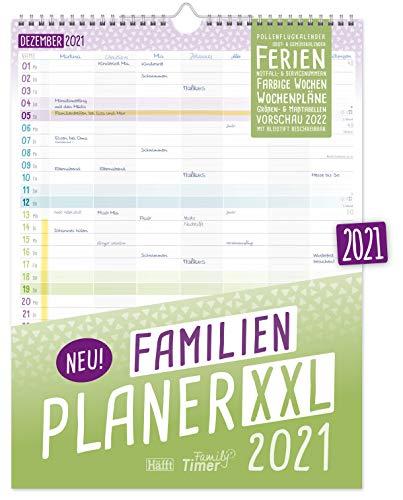 FamilienPlaner XXL 2021 mit 7 Spalten, 33 x 44 cm | Wandkalender Jan - Dez 2021 | Familienkalender Wandplaner:...