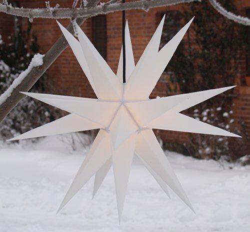 Guru-Shop Melchior Outdoor II Weiß, Sehr Stabiler 3D Außenstern Ø 60 cm, mit 20 Spitzen, Inkl. 4 m...