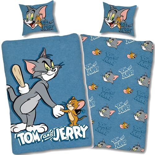 Tom und Jerry Bettwäsche 135x200 80x80 Kissen-Bezug [Wendemotiv] Kinder-Bettwäsche Set blau Tom&Jerry 100%...
