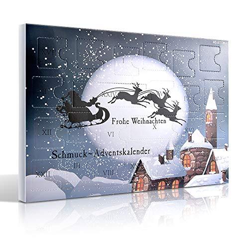 MJARTORIA Schmuck Adventskalender 2021 Damen Mädchen Frauen Kinder Xmas Weihnachtskalender mit 24...