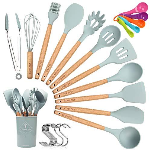 CORAFEI Kochbesteck 12er Küchenutensilien silikon, Antihaftes Hitzebeständiges Küchenhelfer Set mit...