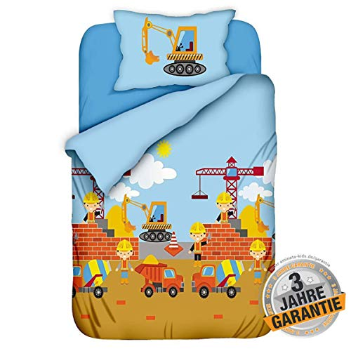 Aminata Kids Kinderbettwäsche 100-x-135 Junge Baumwolle mit Baustelle & Bagger-Motiv für Jungen, Jungs mit...