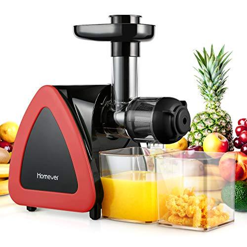 Homever Entsafter Slow Juicer, Entsafter für Obst und Gemüse, Leiser Motor, Umkehrfunktion, leicht zu...
