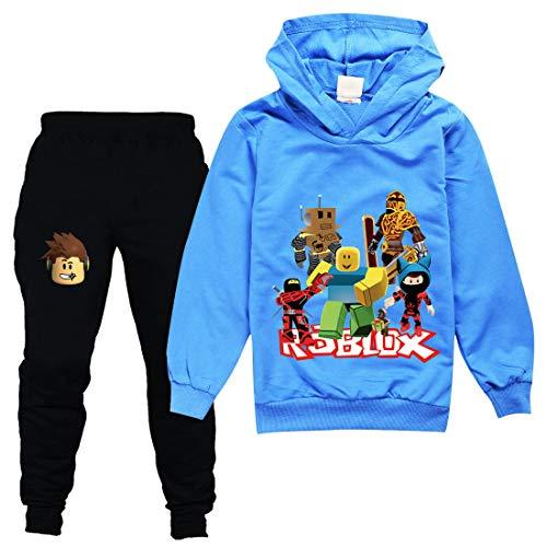 TIK Tok Unisex Kinder-Bekleidung Anzug bestehend aus Kapuzenpullover und Hose Gr. 3-4 Jahre , Blau 1