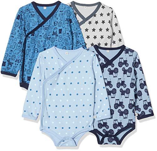 Pippi Unisex Baby 4er Pack Wickelbody mit Aufdruck, Langarm Formender Body, Blau (Blue 725),...