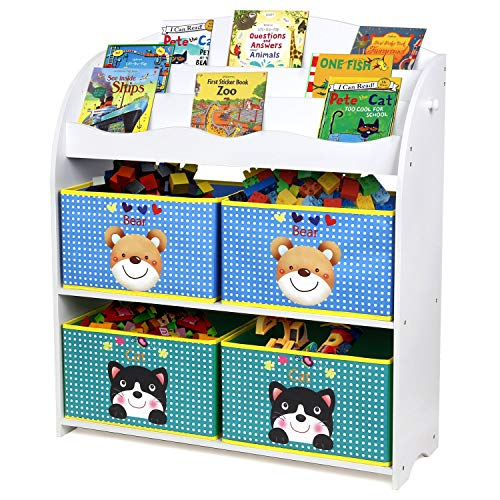 Homfa Kinder Aufbewahrungsregal Bücherregal Kinderregal Spielzeugaufbewahrungregal Spielzeugkiste...