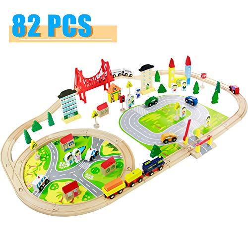 Nuheby Holzeisenbahn Eisenbahn Kinder 82 Teile Holzzug Bahnset mit Brücke und Holzauto Spielzeug...