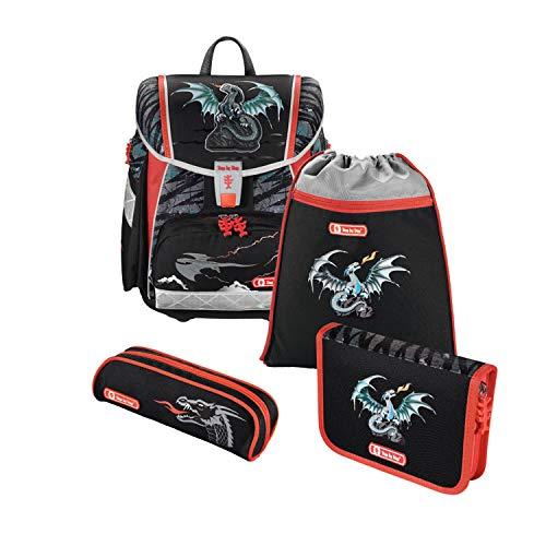 """Step by Step Schulranzen-Set Touch 2 """"Fire Dragon"""" 4-teilig, grau-schwarz, Drachen-Design, ergonomischer..."""