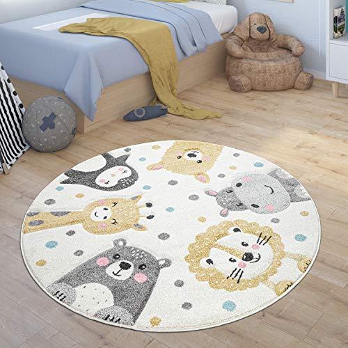Paco Home Kinderteppich Rund Teppich Kinderzimmer Zoo Tiere Pinguin Lama Nilpferd Löwe Bär, Grösse:120 cm...