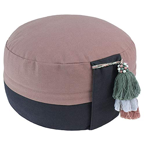 Lotus Design Yogakissen Meditationskissen Bio, Sitzhöhe 15cm, sozial und fair hergestellt, Zafu rund hoch,...