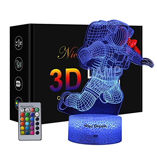 Astronaut 3D Lampe, Dimmbare 3D Nachtlicht 16 Farben Ändern Kinder Geschenke, 6 Jähriger Junge Geschenk...