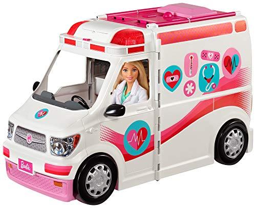 Barbie FRM19 - 2-in-1 Krankenwagen, aufklappbares Fahrzeug mit Licht und Geräuschen, Puppen Spielset mit...