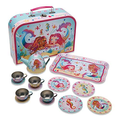 Wobbly Jelly - Meerjungfrau und Freunde Teeset aus Zinn mit Koffer (14 Stck. Spielgeschirr) …