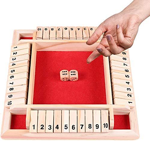 Holz Brettspiel,Klassisch Würfelspiel Board Spielzeug,Shut The Box,Familien-Mathe-Spiel für Kinder,Holz...