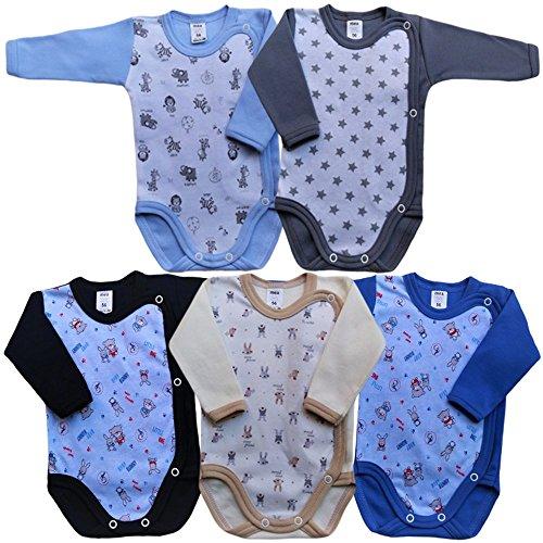 MEA BABY Unisex Baby Langarm Body aus 100% Baumwolle im 5er Pack, Baby Langarm Wickelbody mit Print, Baby...