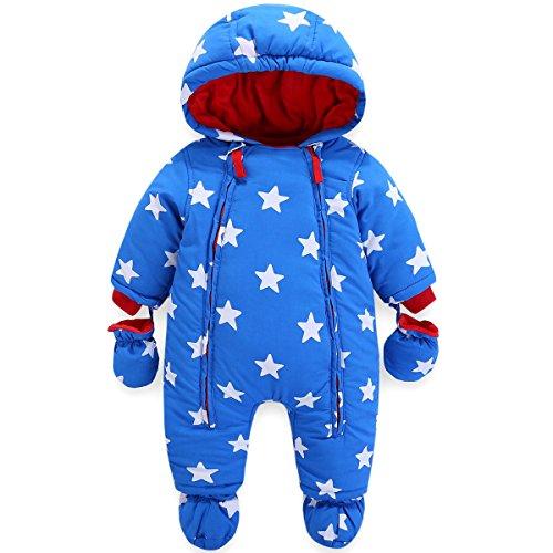 Baby Winter Overall Mit Kapuze Jungen Schneeanzüge mit Handschuhen und Füßlinge Warm Kleidungsset 6-9...
