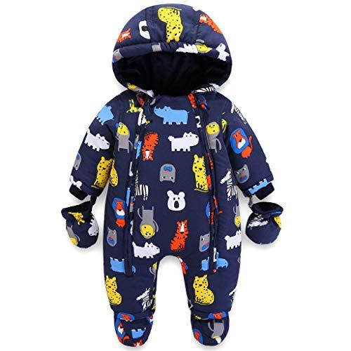 Baby Winter Overall Mit Kapuze Jungen Schneeanzüge mit Handschuhen und Füßlinge Warm Kleidungsset 3-6...