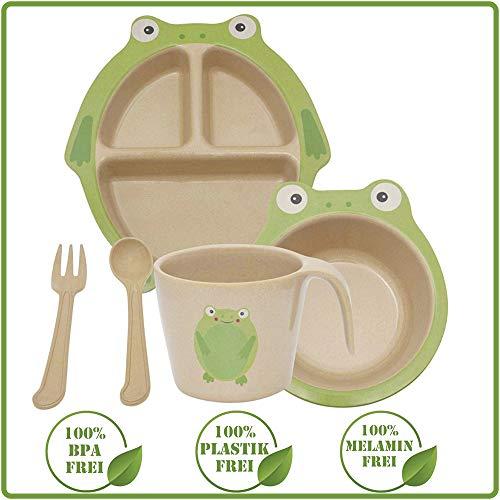 Green World Production Kindergeschirr Set 6-teilig ohne Melamin und Plastik, Spühlmaschienengeeignet...
