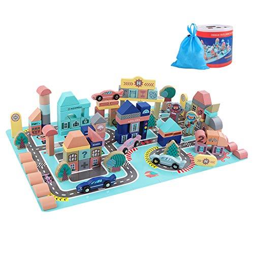WFF Spielzeug BAU Block-Baby-Spielzeug-Set Bildung Spielzeug for Kinder 113 Stück Holz Bauklotz und 48 Stück...