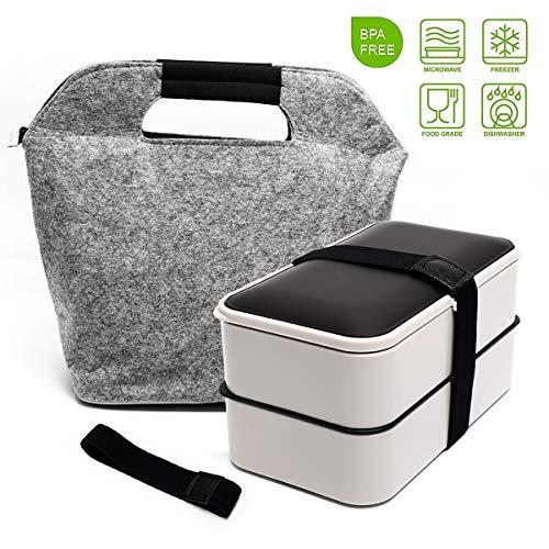 Bento Box Fun Life Lunchbox Brotdose Brotbüchse Zwei Fächern mit Tasche, 3-Teiligem robusten Besteckset &...