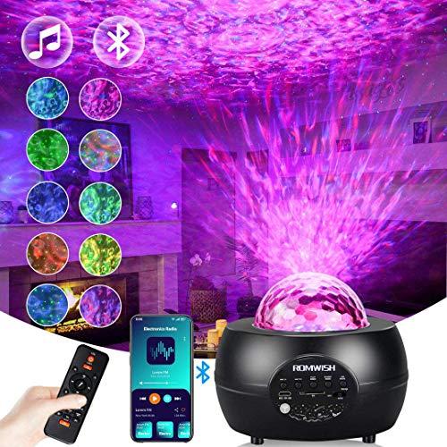 LED Sternenhimmel Projektor, Romwish Projektionslampe Nachtlicht Musik Player mit Bluetooth & Timer &...