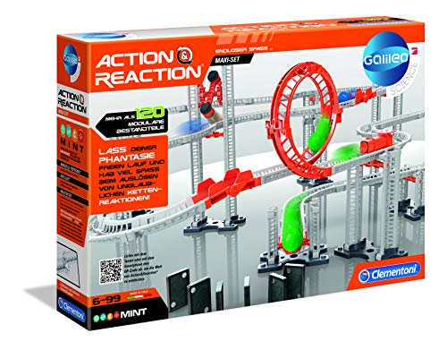 Clementoni 59126 Galileo Science – Action & Reaction Maxi Set, Modellbausatz für eine Kugelbahn,...