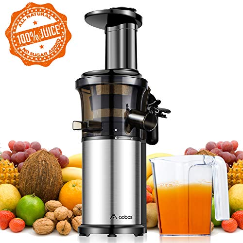 Aobosi Kompakt Slow Juicer/Kleines Kaliber Entsafter/Saftpresse für Obst und Gemüse mit tragbar...